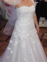 Свадебное платье ,  белоснежное. Состояние идеальное. Авторская работа.